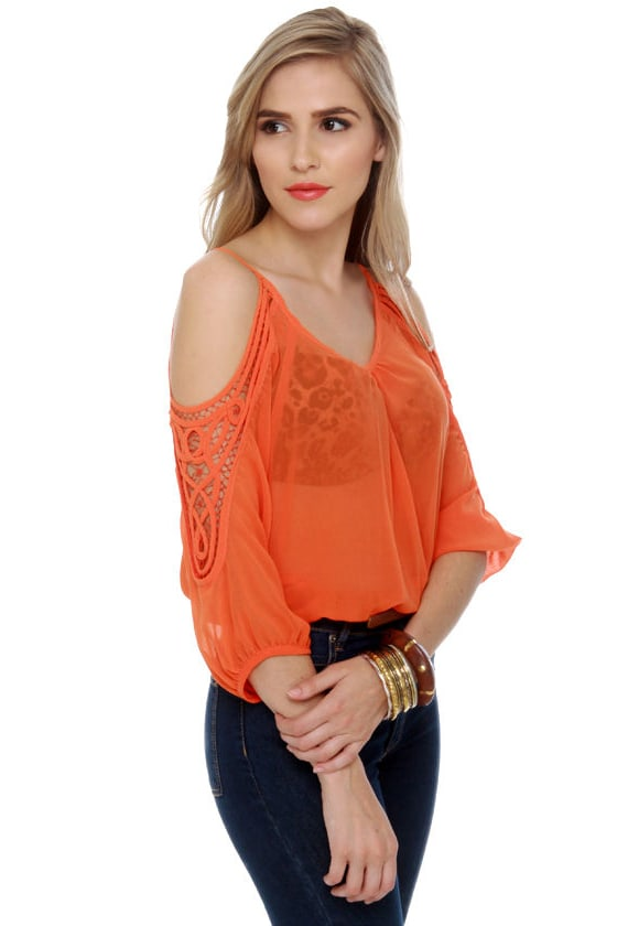 Hot Ticket Sheer Orange Top at Lulus.com!