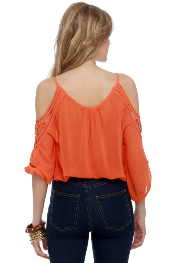 Hot Ticket Sheer Orange Top