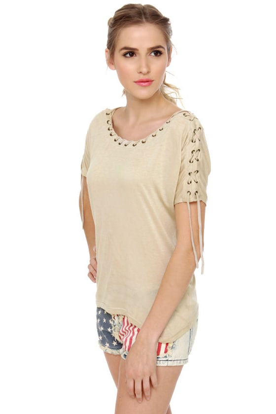 Major Lacer Short Sleeve Beige Top