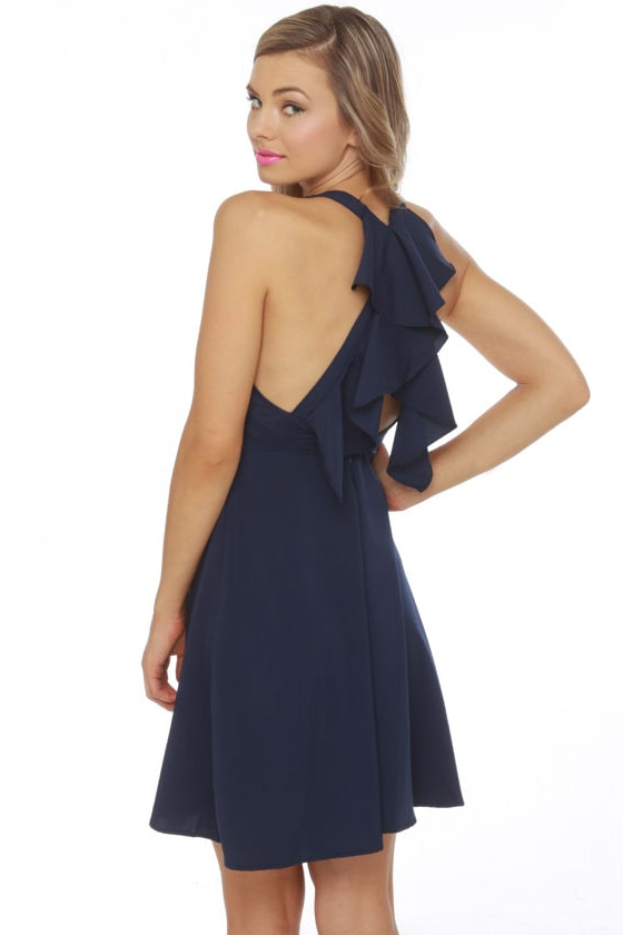 Navy Blue Ruffle Hem Flare Sleeve Sheath Dress on sale only US$ now, buy cheap Navy Blue Ruffle Hem Flare Sleeve Sheath Dress at shopnow-ahoqsxpv.ga