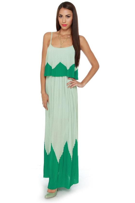 e833a29c94 Cute Mint Green Dress - Maxi Dress - Pleated Dress - $56.00