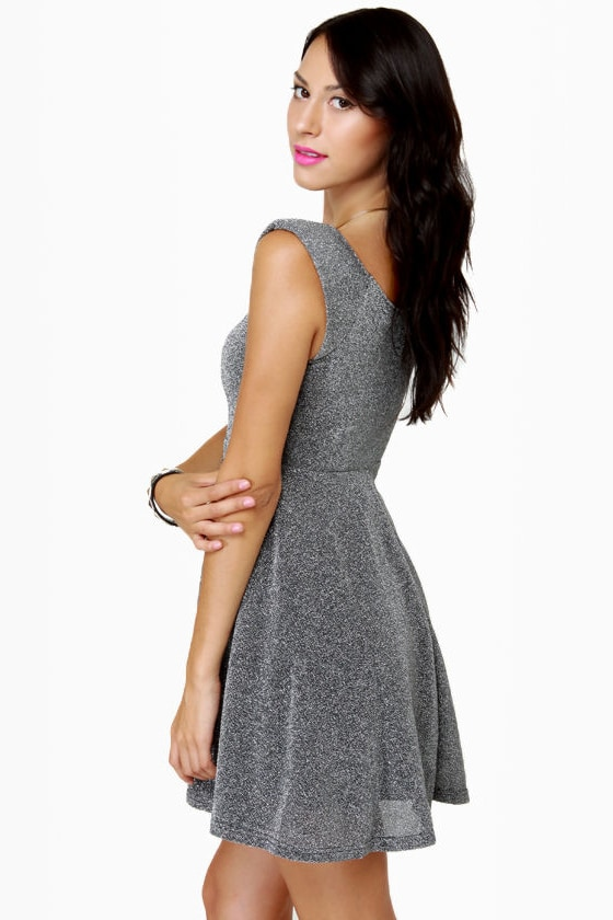 Cosmic-politan Silver Glitter Dress at Lulus.com!