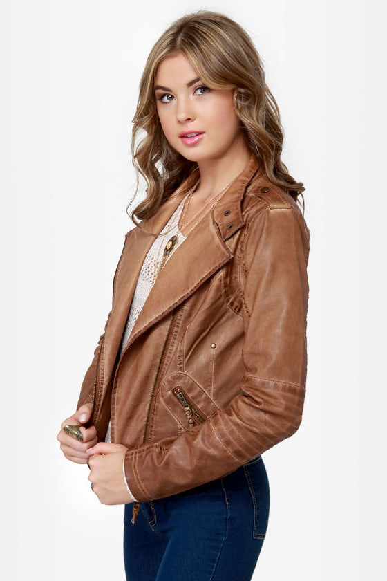 Black Sheep Heart Brown Vegan Leather Moto Jacket at Lulus.com!