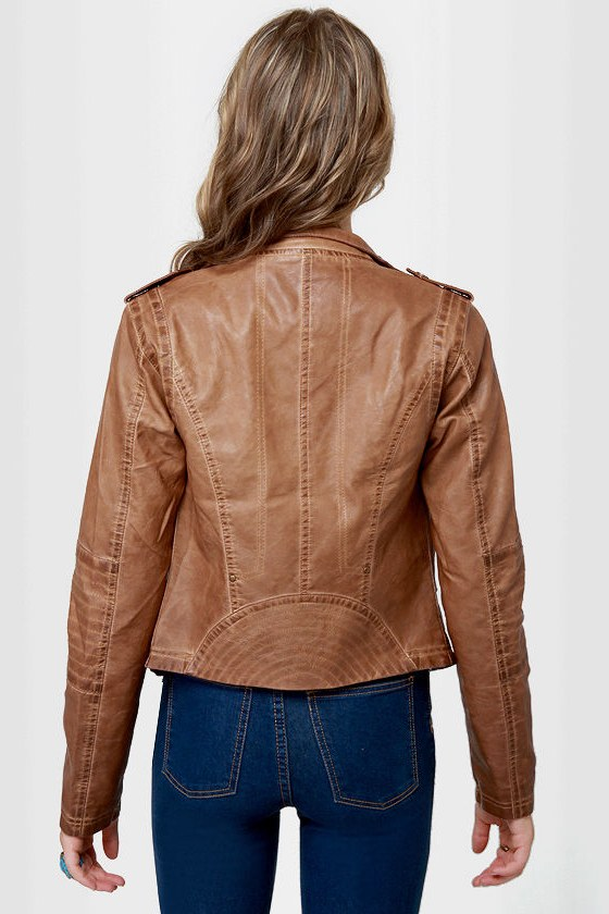 Black Sheep Heart Brown Vegan Leather Moto Jacket