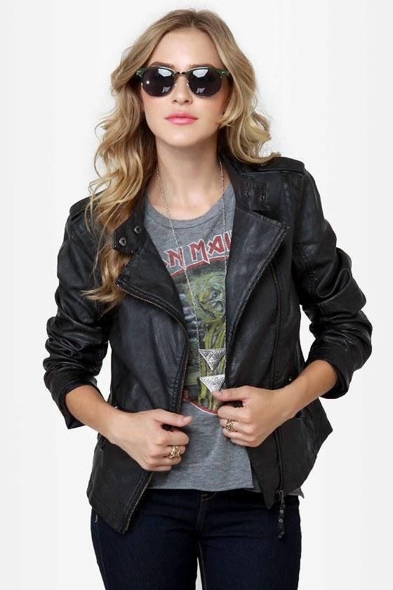 Black Sheep Heart Black Vegan Leather Moto Jacket