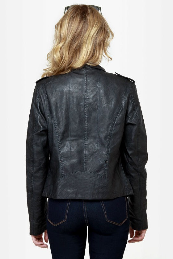 Black Sheep Heart Black Vegan Leather Moto Jacket