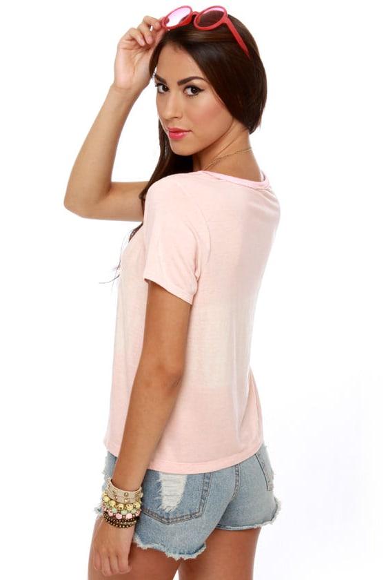 Black Sheep Bohemian Distressed Pink Top