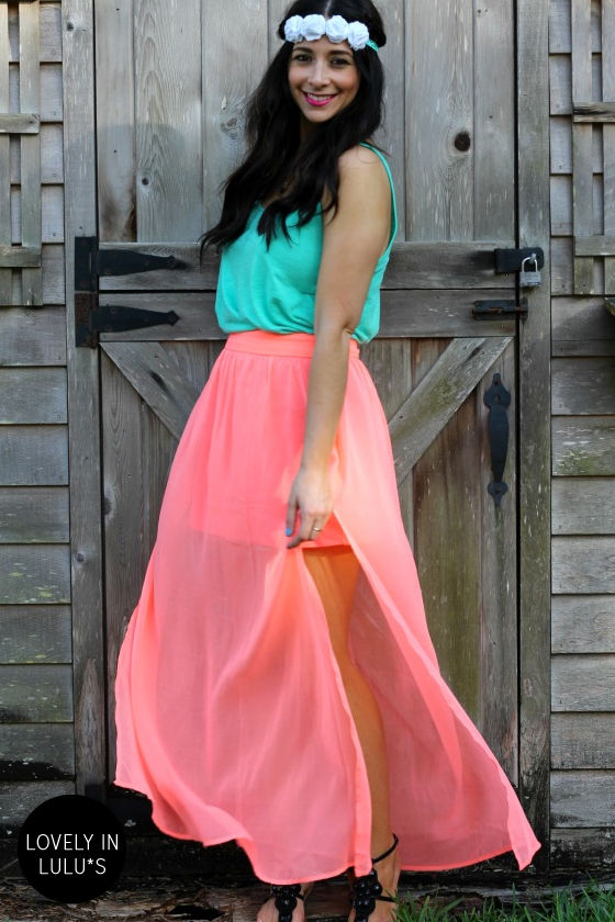 Bright Your Sources Neon Coral Maxi Skirt at Lulus.com!