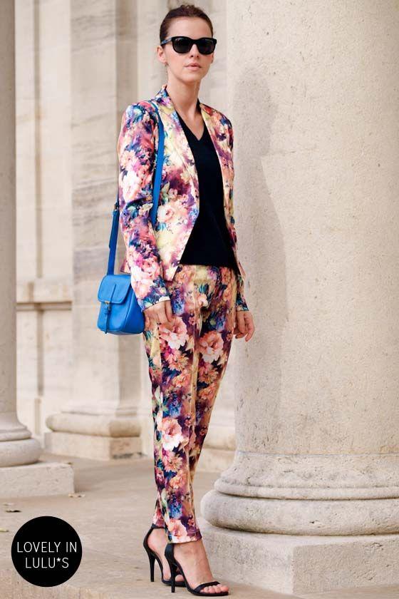 Cute Floral Print Blazer - Satin Blazer - $57.00