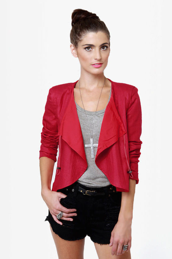 Chic Red Jacket Red Blazer Cropped Jacket 56 00