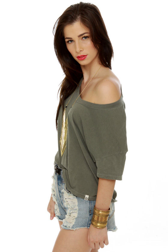 Obey Vintage Dusty Army Green Crop Top at Lulus.com!