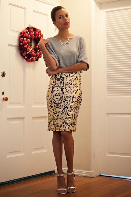 44399ba8e3 Pretty Baroque Skirt - Gold Skirt - Print Skirt - Pencil Skirt - $47.00