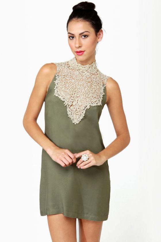 Beautiful Olive Green Dress - Lace Dress - Lace Neck Dress - $39.00