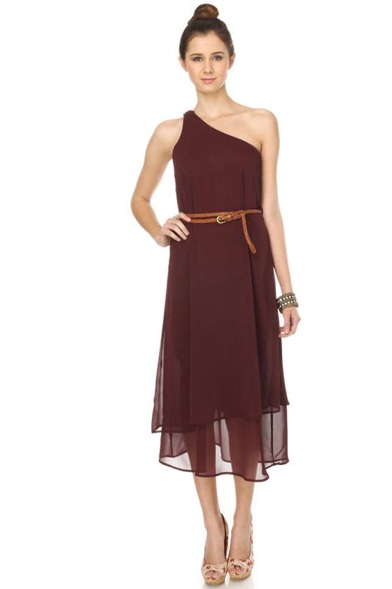 Trail Mix One Shoulder Maroon Dress