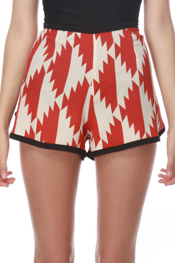 Anasaz-Me Print Red Shorts