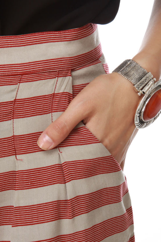 Landlubber Red and Taupe Striped Shorts