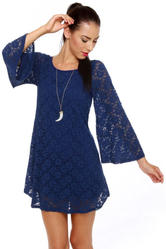 Cute Blue Dress - Lace Dress - Floral Dress - $41.00