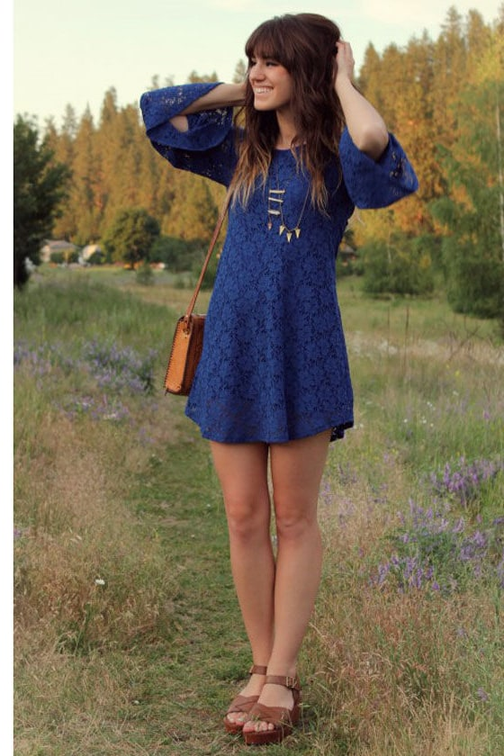Read My Tulips Blue Lace Dress