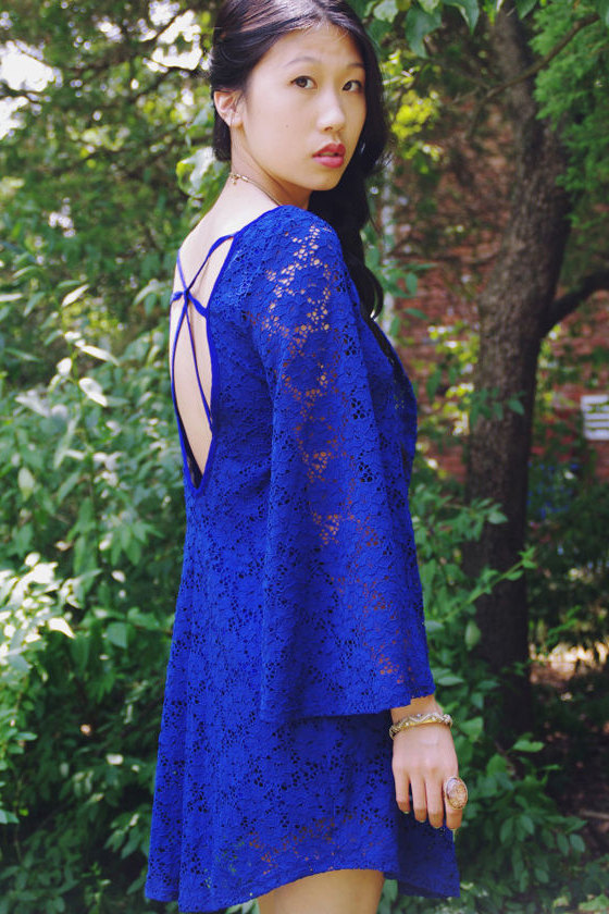 Read My Tulips Blue Lace Dress at Lulus.com!