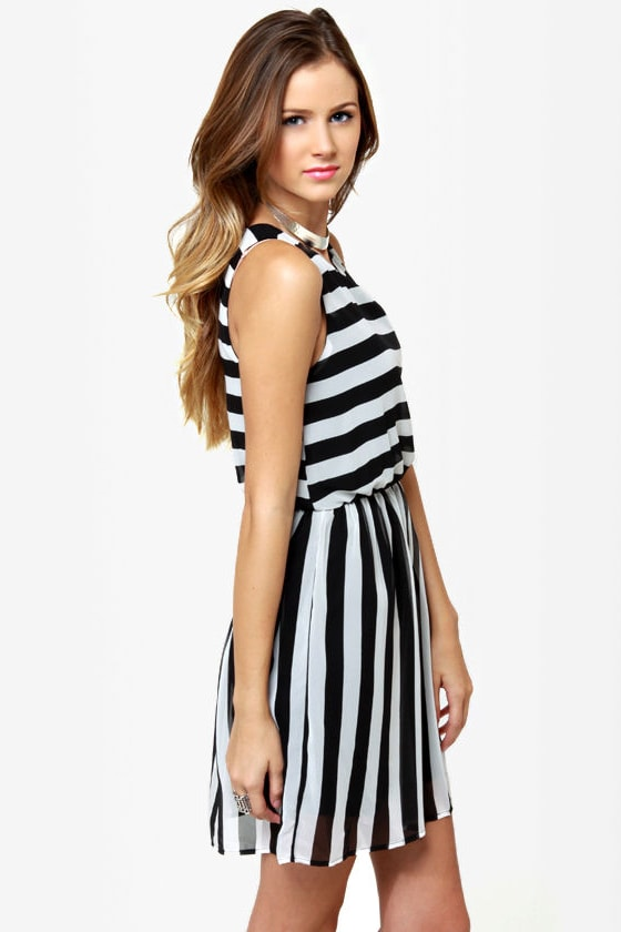 The Right Stripes Black and White Striped Dress