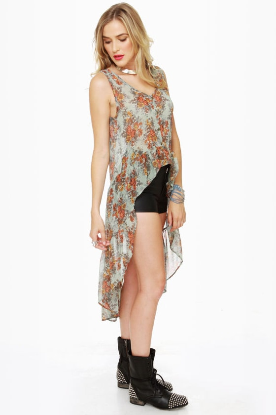 Morning Glory Sage Green Floral Top at Lulus.com!
