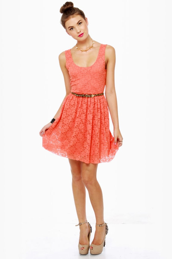 Cookie Workshop Coral Lace Dress