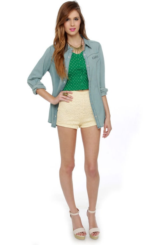 Sexy Lace Hot Pants - High-Waisted Shorts - Cream Lace Shorts - $35.00