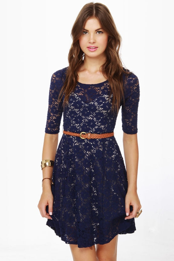 Cute Blue Dress - Lace Dress - Navy Dress - $46.00