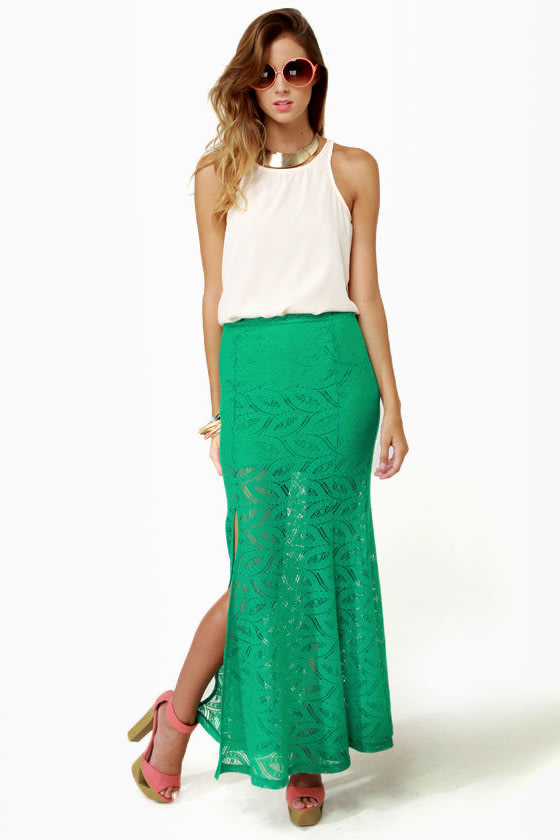 Crocheted Loving Teal Maxi Skirt