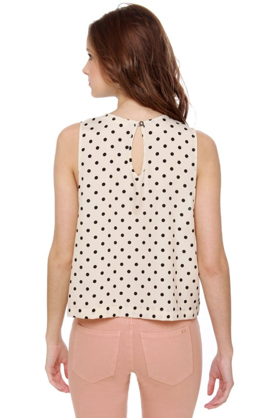 Collar-ship Award Polka Dot Tank Top