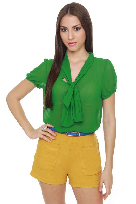 Fit to be Tied Sheer Kelly Green Top