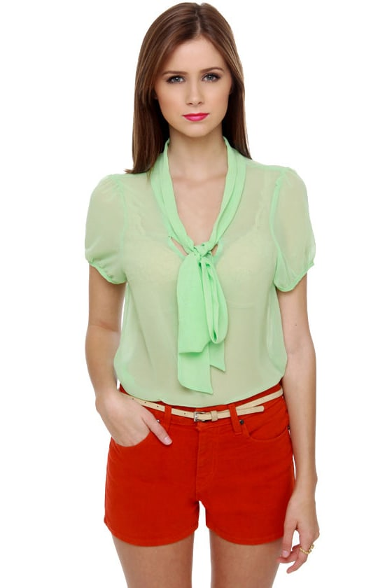 Fit to be Tied Sheer Mint Green Top