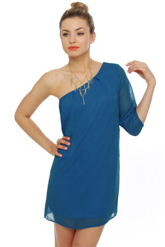C\'mon Get Happy One Shoulder Sapphire Blue Dress