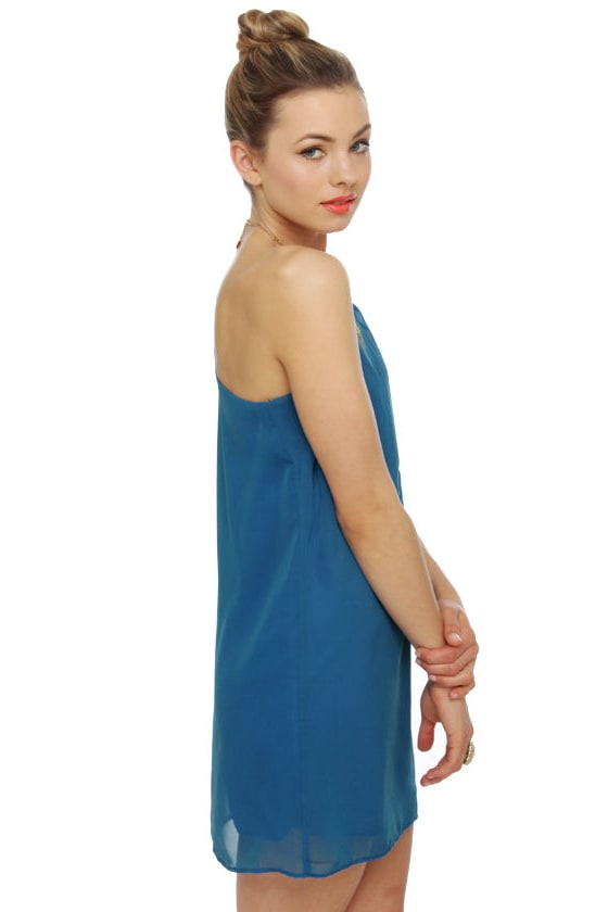 C'mon Get Happy One Shoulder Sapphire Blue Dress at Lulus.com!
