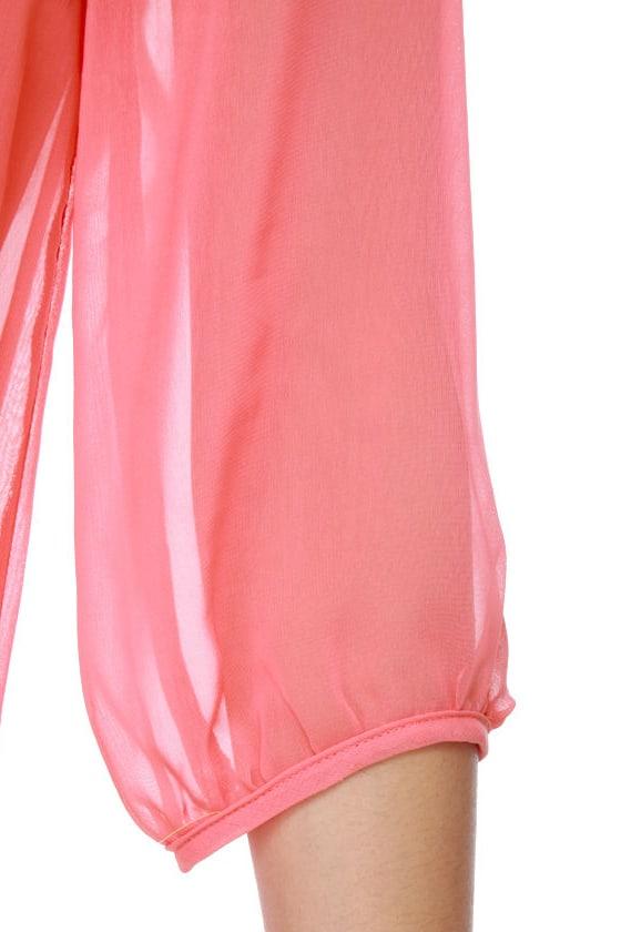 C\\\'mon Get Happy One Shoulder Coral Pink Dress