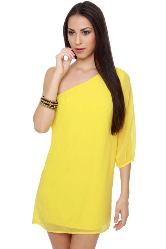 C\'mon Get Happy One Shoulder Yellow Dress