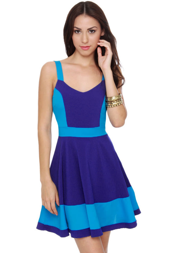 Cute Color Block Dress - Blue Dress - $40.00