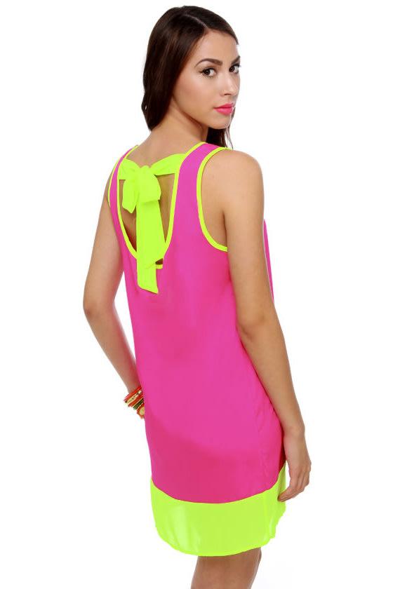 Cute Color Block Dress - Fuchsia Dress - Neon Dress - $33.00