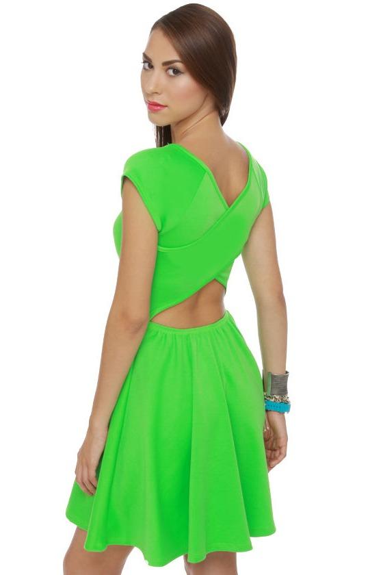 Cute Neon Green Dress Short Sleeve Dress 36 00