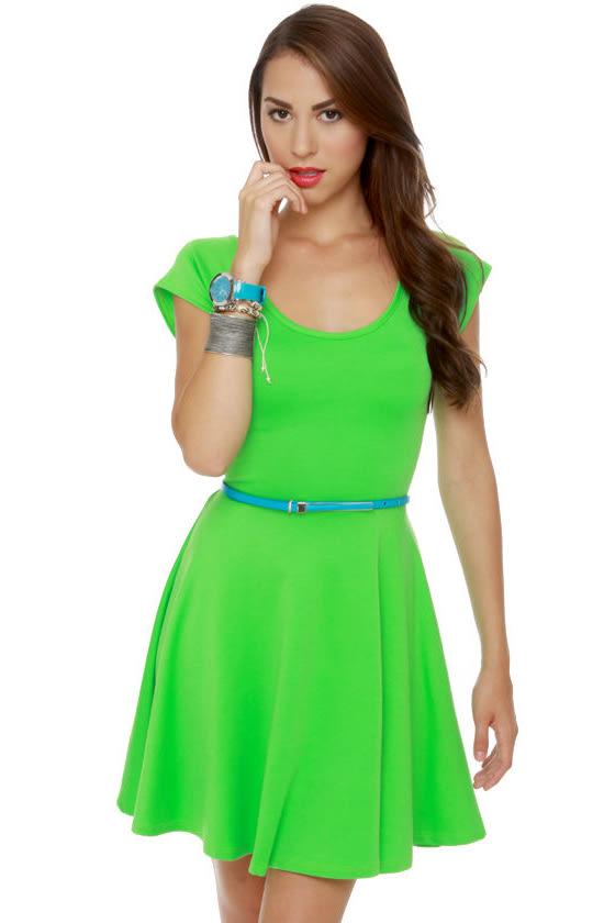 Cute Neon Green Dress - Short Sleeve Dress - $36.00