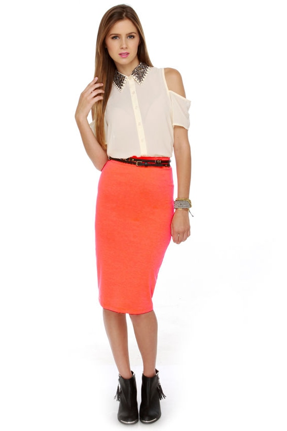Chic Pencil Skirt - Neon Orange Skirt - Midi Skirt - $26.00