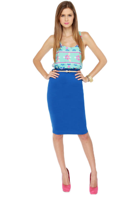 Building Block Blue Pencil Skirt