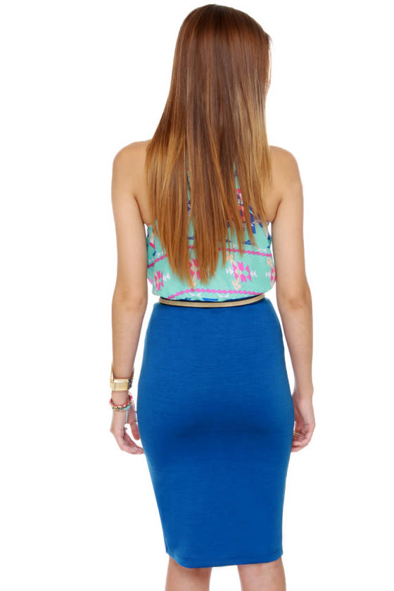 Building Block Blue Pencil Skirt at Lulus.com!