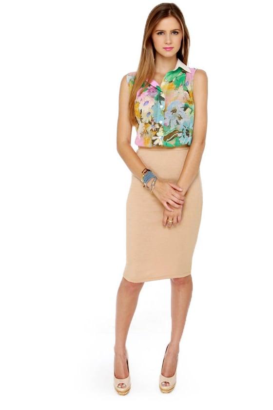 Chic Pencil Skirt - Beige Skirt - Midi Skirt - $26.00