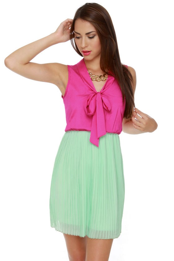 Top Story Mint and Fuchsia Dress
