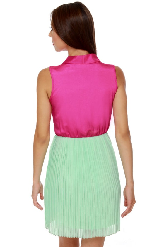 Top Story Mint and Fuchsia Dress