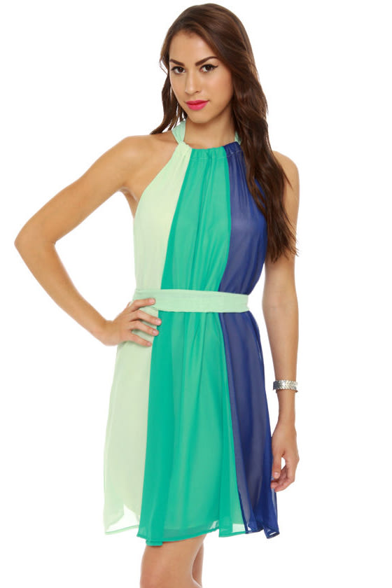 The Stripe Aquatic Blue Halter Dress at Lulus.com!