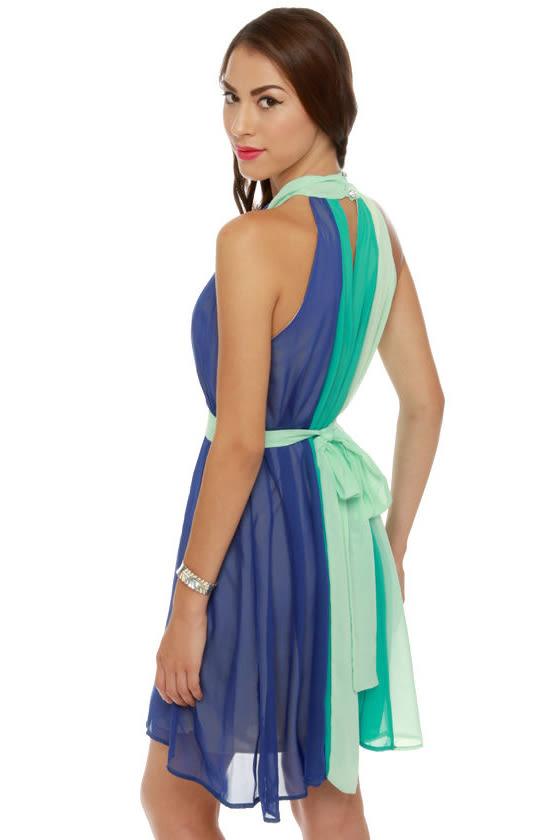 c5d09436897 Pretty Color Block Dress - Aqua Dress - Halter Dress -  47.00