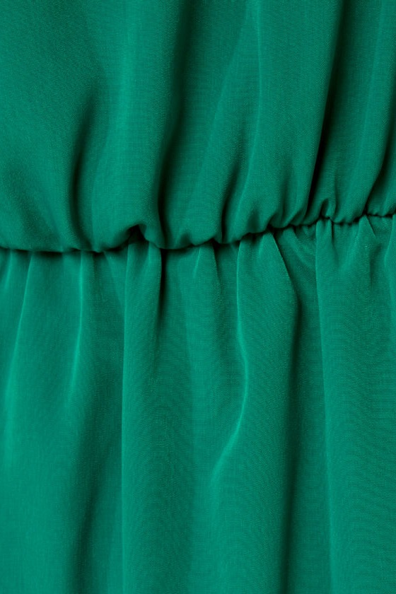 Plantation Tour Green One Shoulder Dress