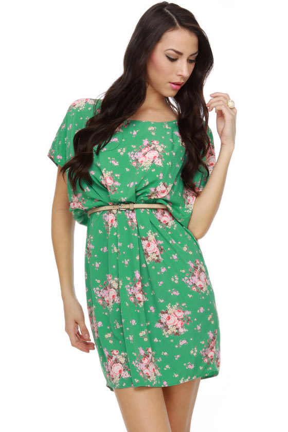 Collective Concepts Katie Mae Green Print Dress